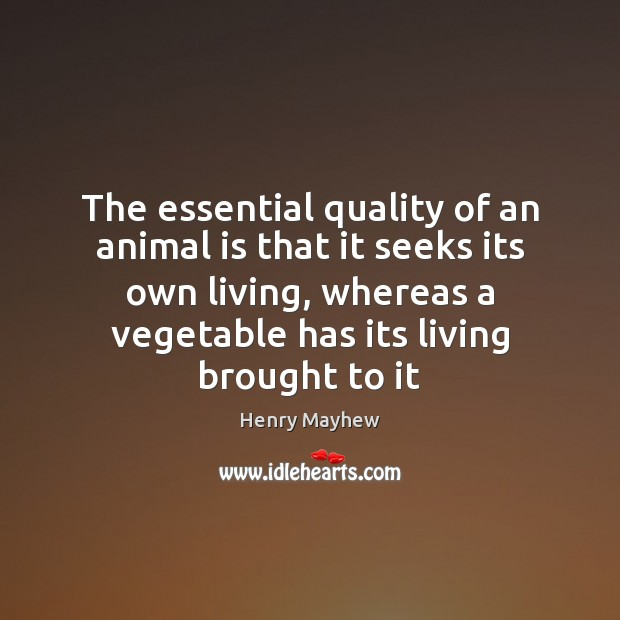 The essential quality of an animal is that it seeks its own Image