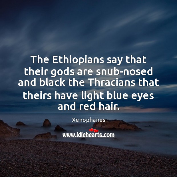 The Ethiopians say that their Gods are snub-nosed and black the Thracians Image