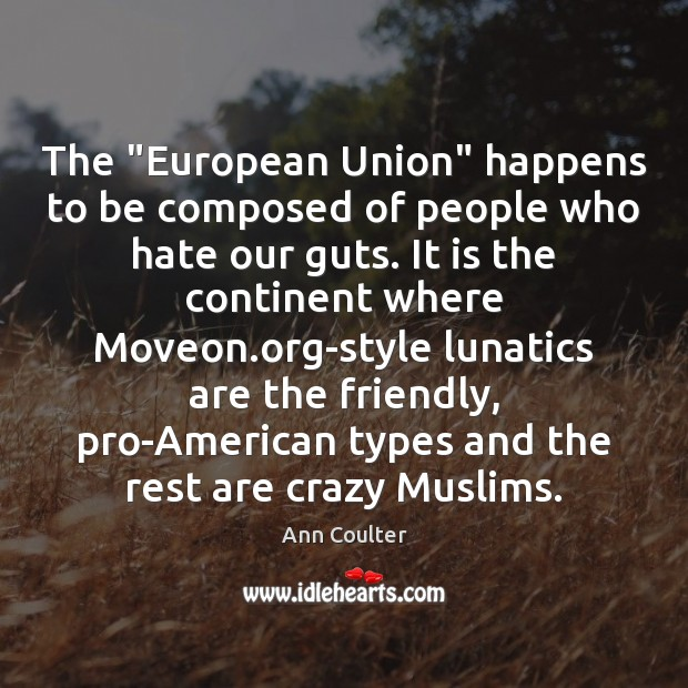 """The """"European Union"""" happens to be composed of people who hate our Image"""