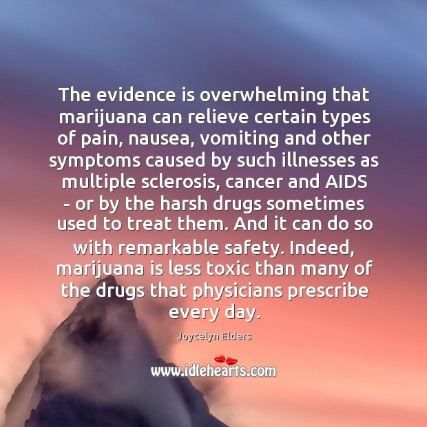 The evidence is overwhelming that marijuana can relieve certain types of pain, Joycelyn Elders Picture Quote