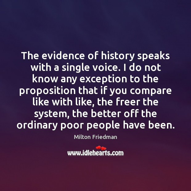 The evidence of history speaks with a single voice. I do not Milton Friedman Picture Quote