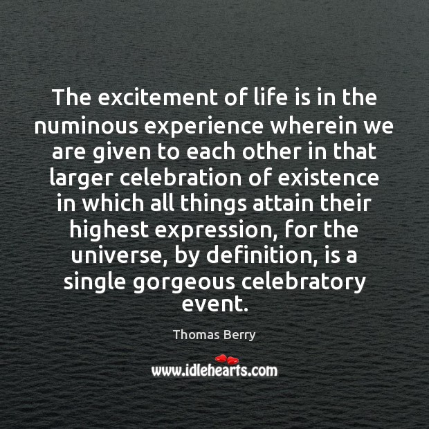 The excitement of life is in the numinous experience wherein we are Thomas Berry Picture Quote