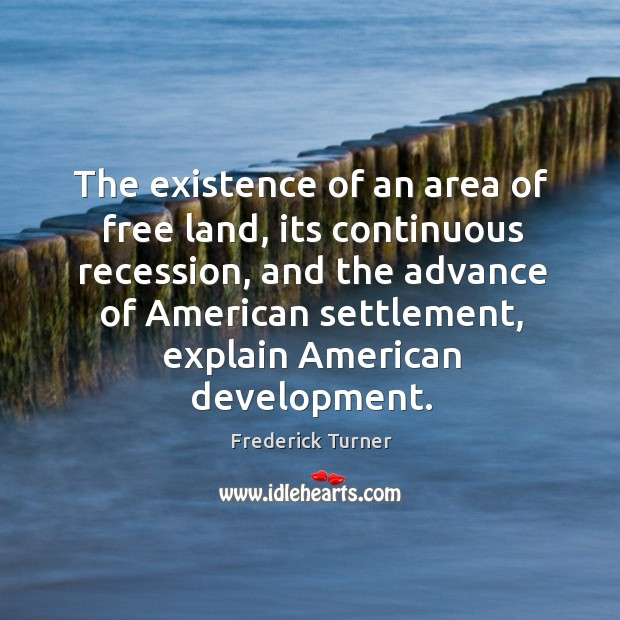 The existence of an area of free land, its continuous recession Image