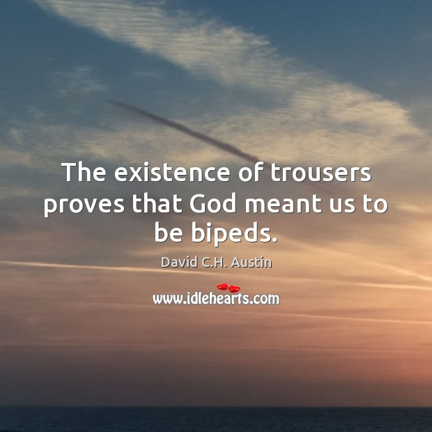The existence of trousers proves that God meant us to be bipeds. Image