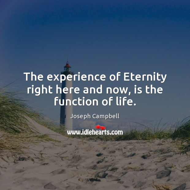 The experience of Eternity right here and now, is the function of life. Image