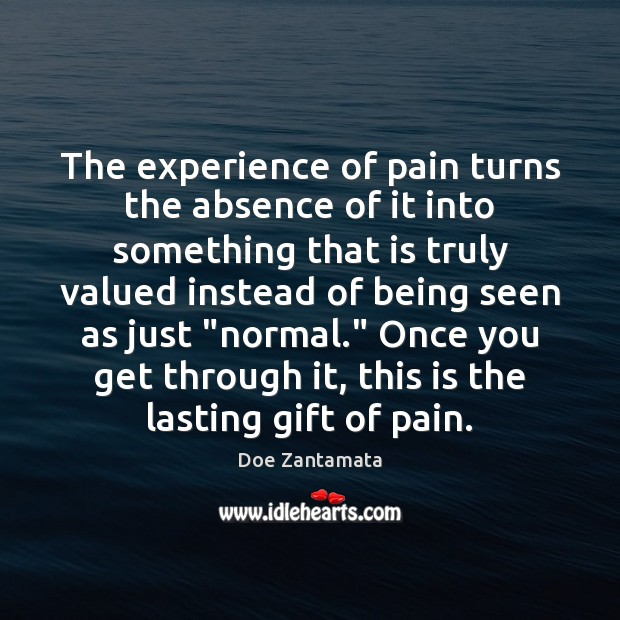 The experience of pain turns the absence of it into something that is truly valued Doe Zantamata Picture Quote