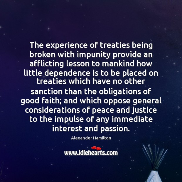 Image, The experience of treaties being broken with impunity provide an afflicting lesson