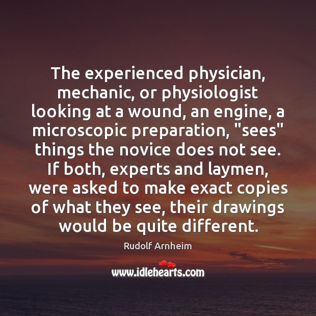 Image, The experienced physician, mechanic, or physiologist looking at a wound, an engine,