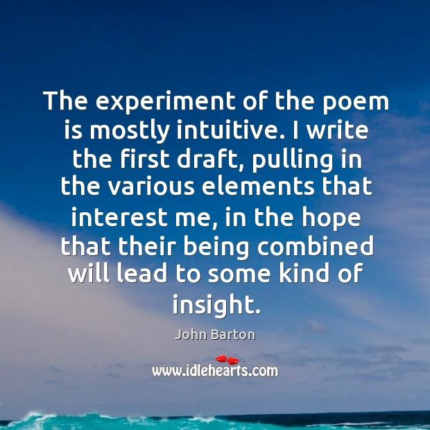 The experiment of the poem is mostly intuitive. I write the first draft Image