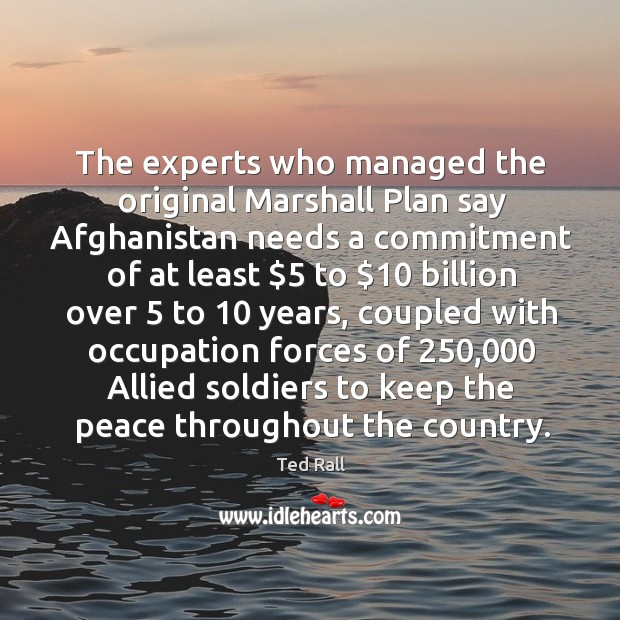 The experts who managed the original marshall plan say afghanistan needs a commitment of Ted Rall Picture Quote