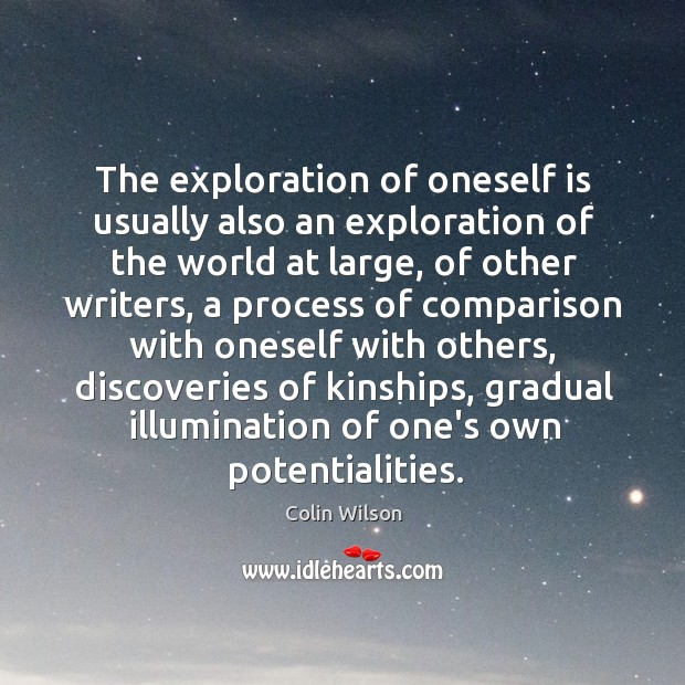 The exploration of oneself is usually also an exploration of the world Colin Wilson Picture Quote