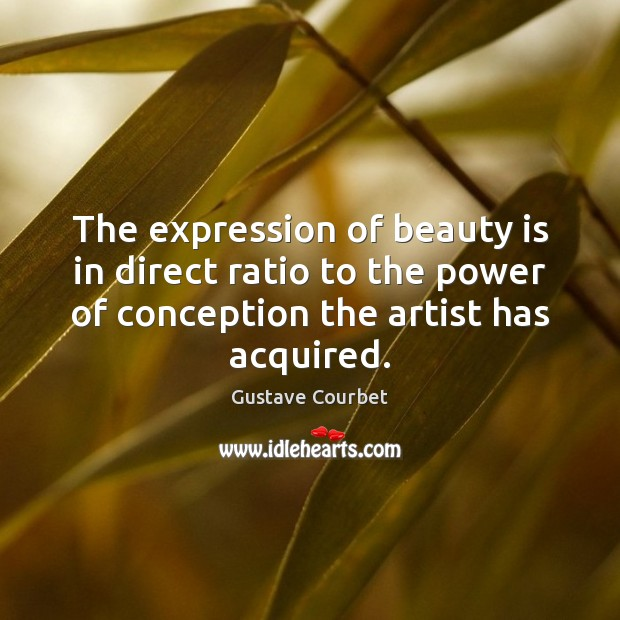 The expression of beauty is in direct ratio to the power of Image