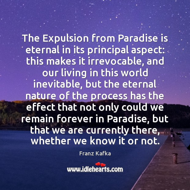 Image, The Expulsion from Paradise is eternal in its principal aspect: this makes