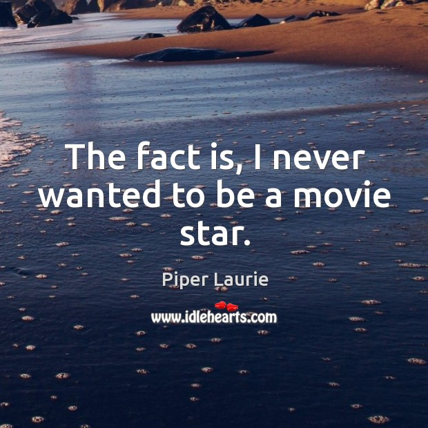 The fact is, I never wanted to be a movie star. Image