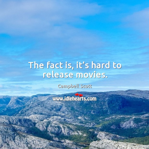 The fact is, it's hard to release movies. Image