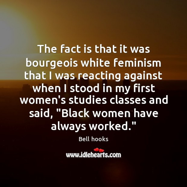 Image, The fact is that it was bourgeois white feminism that I was