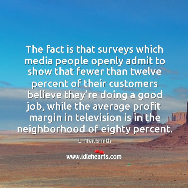 The fact is that surveys which media people openly admit to show Image