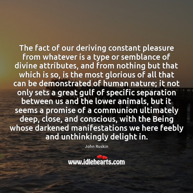 Image, The fact of our deriving constant pleasure from whatever is a type