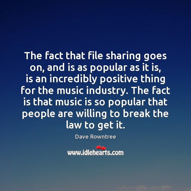 The fact that file sharing goes on, and is as popular as Image
