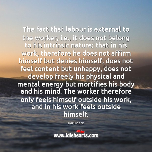 The fact that labour is external to the worker, i.e., it Image