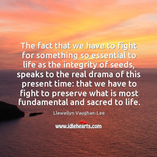 The fact that we have to fight for something so essential to Llewellyn Vaughan-Lee Picture Quote