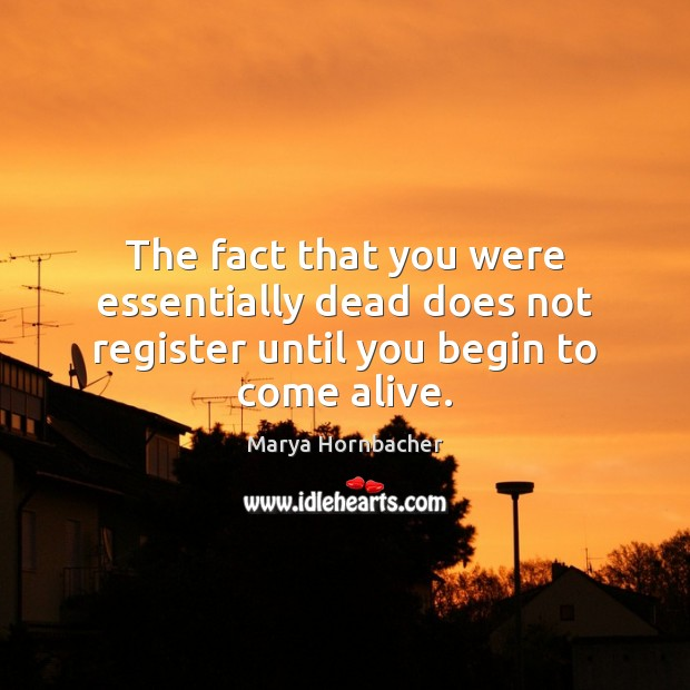 The fact that you were essentially dead does not register until you begin to come alive. Marya Hornbacher Picture Quote