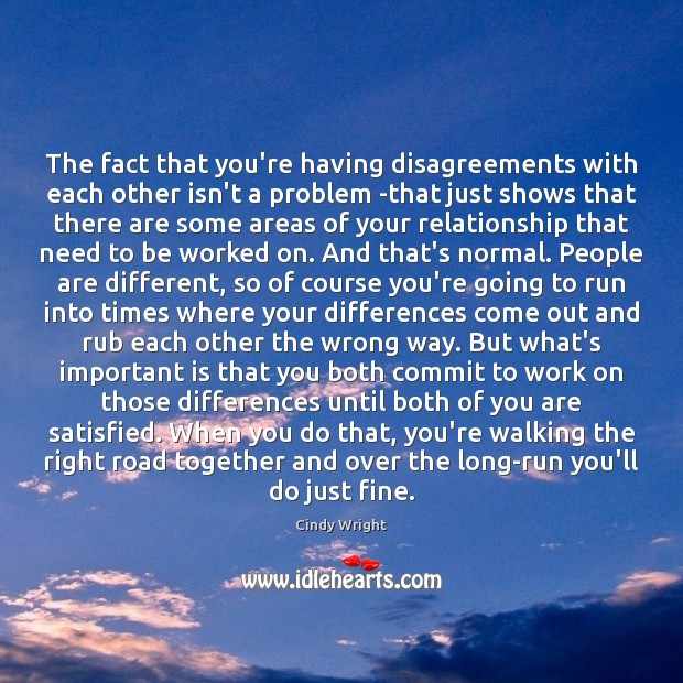 The fact that you're having disagreements with each other isn't a problem Image