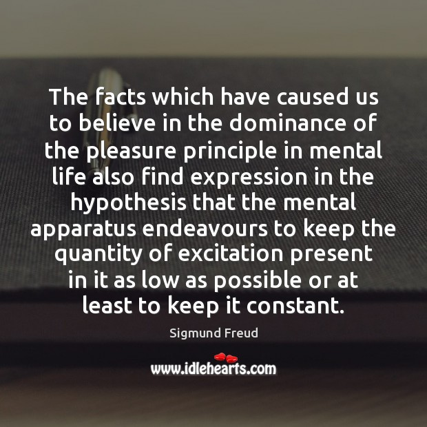 The facts which have caused us to believe in the dominance of Sigmund Freud Picture Quote