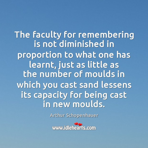 The faculty for remembering is not diminished in proportion to what one Image