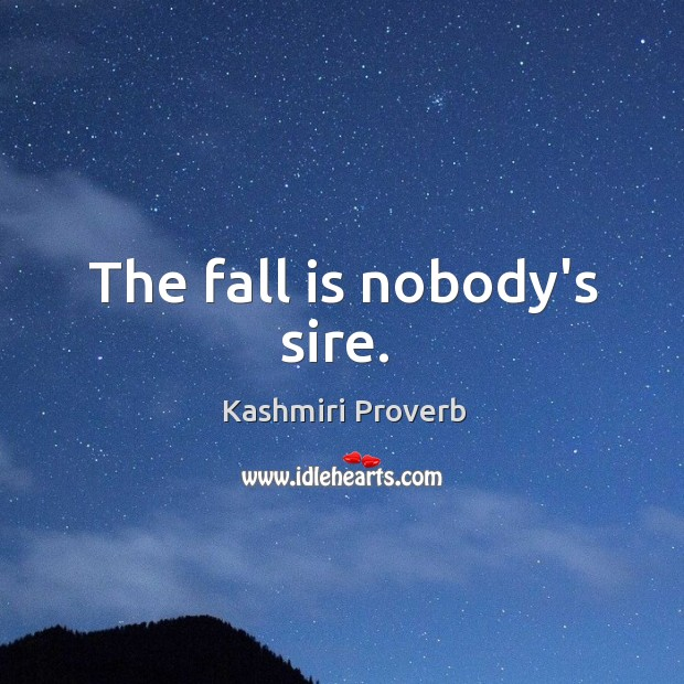 The fall is nobody's sire. Kashmiri Proverbs Image