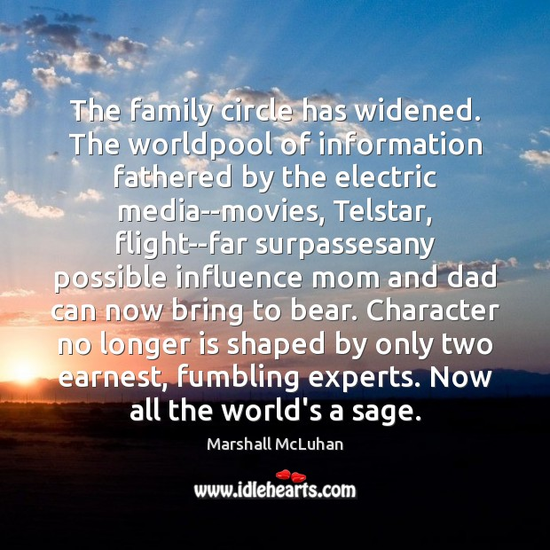 The family circle has widened. The worldpool of information fathered by the Image