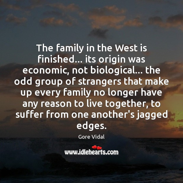 The family in the West is finished… its origin was economic, not Image