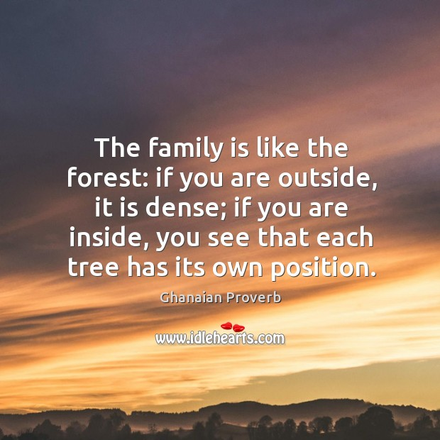 The family is like the forest: if you are outside Image