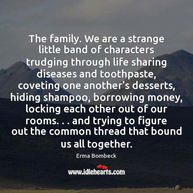 Image, The family. We are a strange little band of characters trudging through