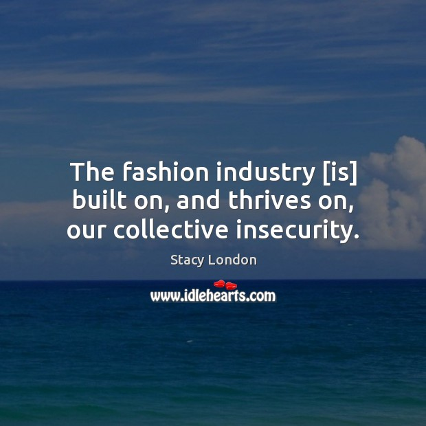 The fashion industry [is] built on, and thrives on, our collective insecurity. Image