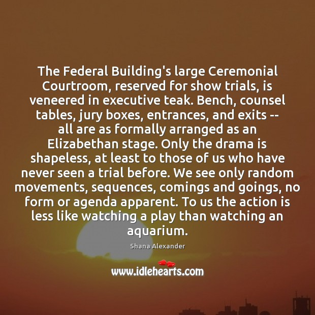 Image, The Federal Building's large Ceremonial Courtroom, reserved for show trials, is veneered