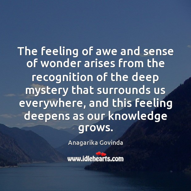 Image, The feeling of awe and sense of wonder arises from the recognition