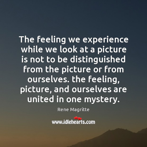 The feeling we experience while we look at a picture is not Image