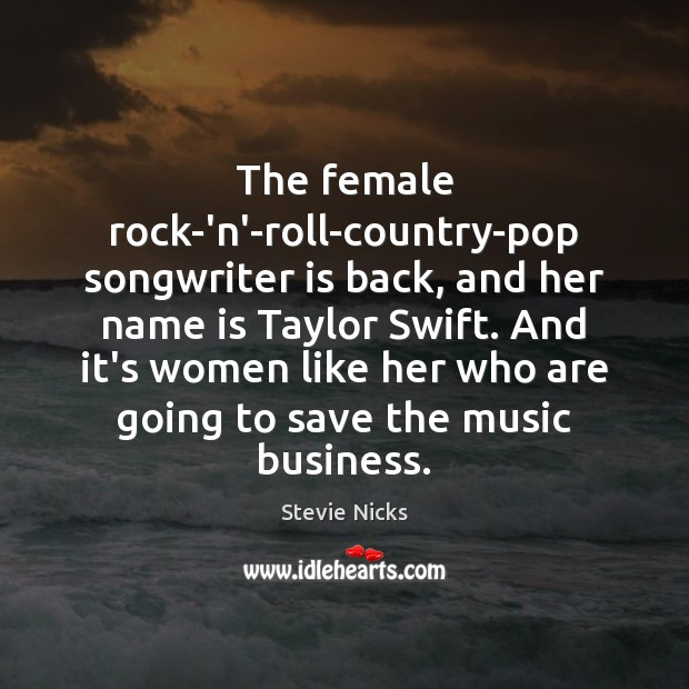 The female rock-'n'-roll-country-pop songwriter is back, and her name is Taylor Swift. Image