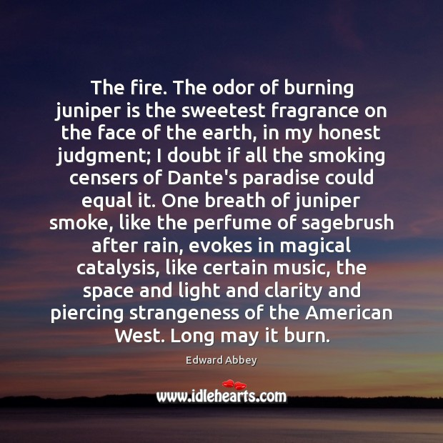 Image, The fire. The odor of burning juniper is the sweetest fragrance on