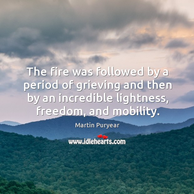 The fire was followed by a period of grieving and then by an incredible lightness, freedom, and mobility. Martin Puryear Picture Quote