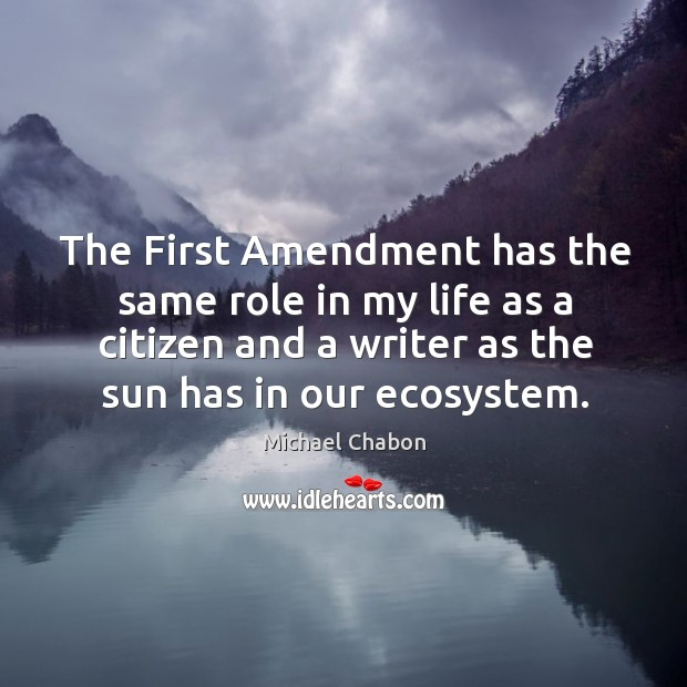 The first amendment has the same role in my life as a citizen and a writer as the sun has in our ecosystem. Image