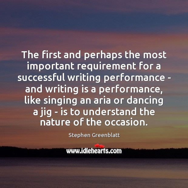 Image, The first and perhaps the most important requirement for a successful writing
