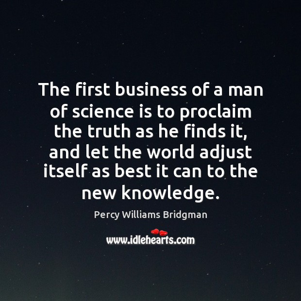 The first business of a man of science is to proclaim the Image