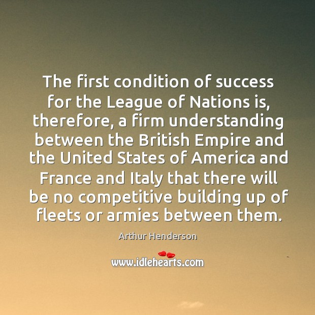 Image, The first condition of success for the league of nations is, therefore