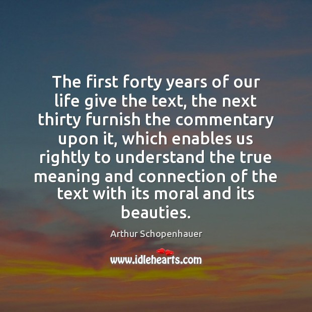 The first forty years of our life give the text, the next Image