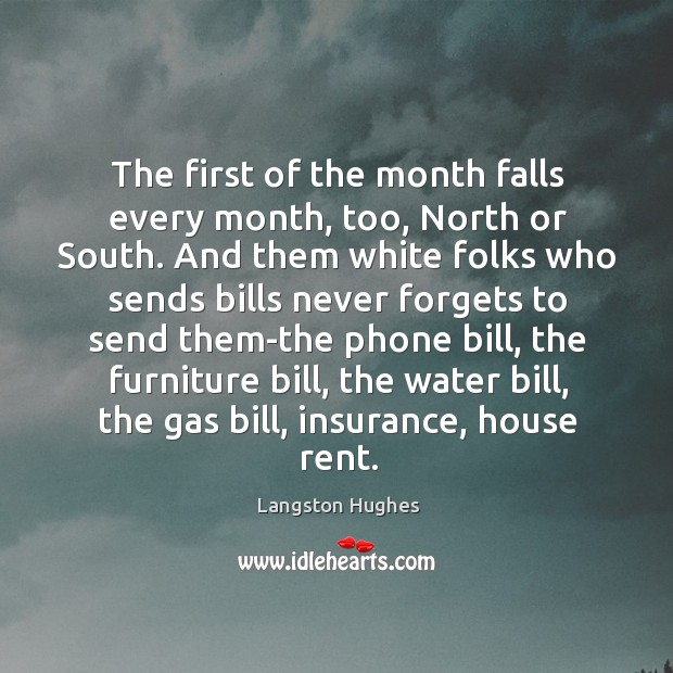 The first of the month falls every month, too, North or South. Image