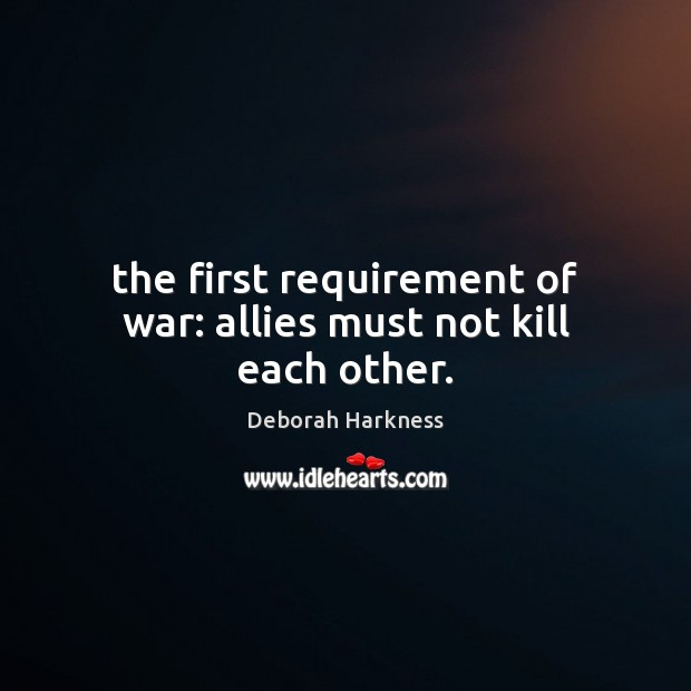 The first requirement of war: allies must not kill each other. Image