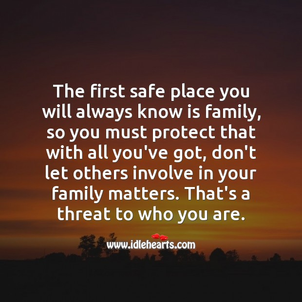 The first safe place you will always know is family, don't let others involve in it. Family Quotes Image