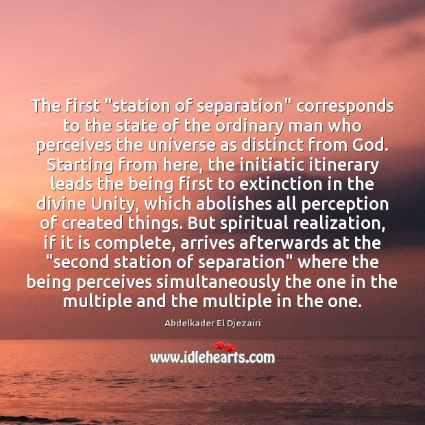 "Image, The first ""station of separation"" corresponds to the state of the ordinary"